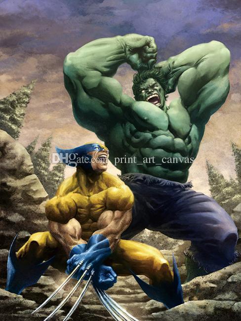 Satın Al Modern Hd Baskı Ev Dekor Hulk Vs Wolverine Yağlıboya