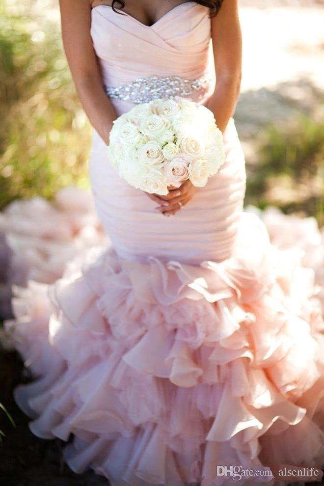 Урожай 2017 года Русалка Свадебные платья Blush Свадебные платья Кристаллы Бисероплетение Sash Sexy Милая кружева назад Pleat Свадебные платья Поезд суда