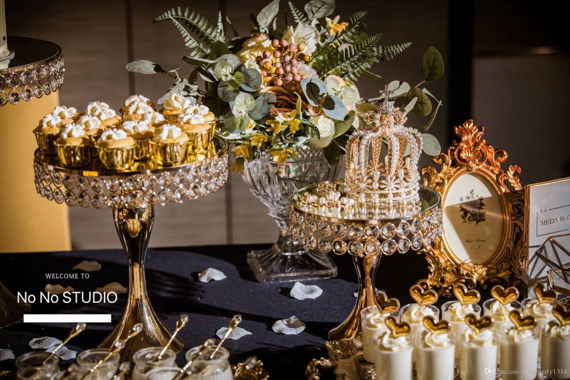 5 unids / set Luxury Gold Crystal soporte de la torta soporte de la torta decorada boda pan pan cupcake dulce mesa mesa de dulces barra de centros de decoración