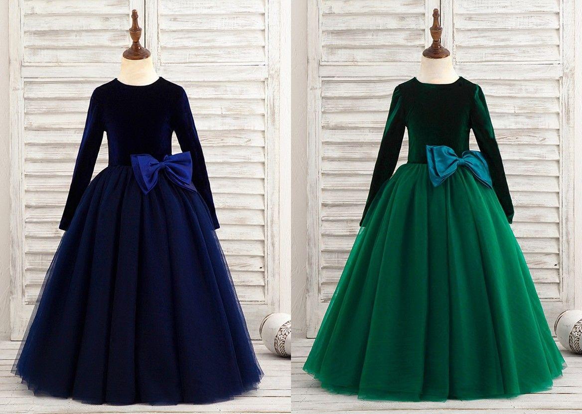 Simple Cheap Long Sleeve Flower Girls Dresses 2019 Jewel