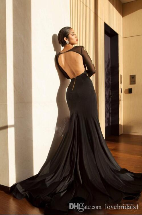 2018 Gold Lace Appliques Mermaid Sexy Black High Slit Prom Party Dresses Sheer Long Sleeves Deep V Neck Open Back Evening Gown