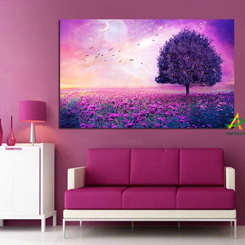 2018 ywdecor tree on purple flower sea creative canvas painting bird
