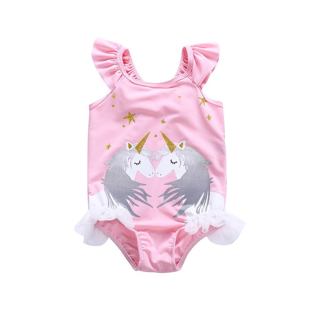 Girls Swimwear Beach Kids Unicorn Print One-piece Swimsuit Baby ...