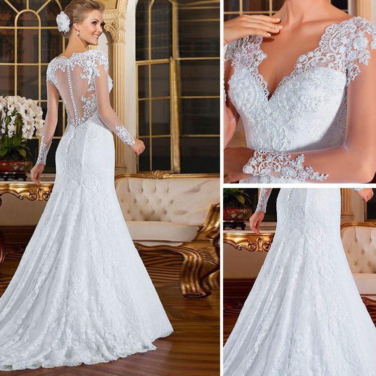 Vestidos 2017 Elegant Lace Long Sleeves Mermaid Wedding Dresses Sexy ... fba9afc69cca
