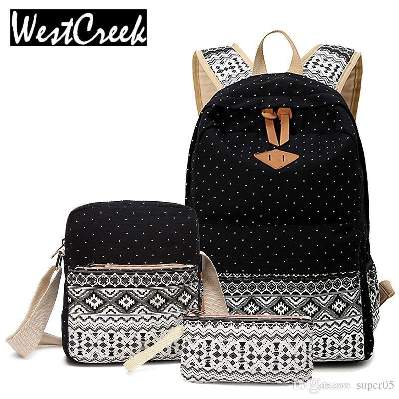 75111f6e43 Westcreek Stylish Canvas Printing Backpack Women School Bags For Teenage  Girls Cute Set Black Backpacks Female Bagpack Mochila Gym Bags For Men School  Bags ...
