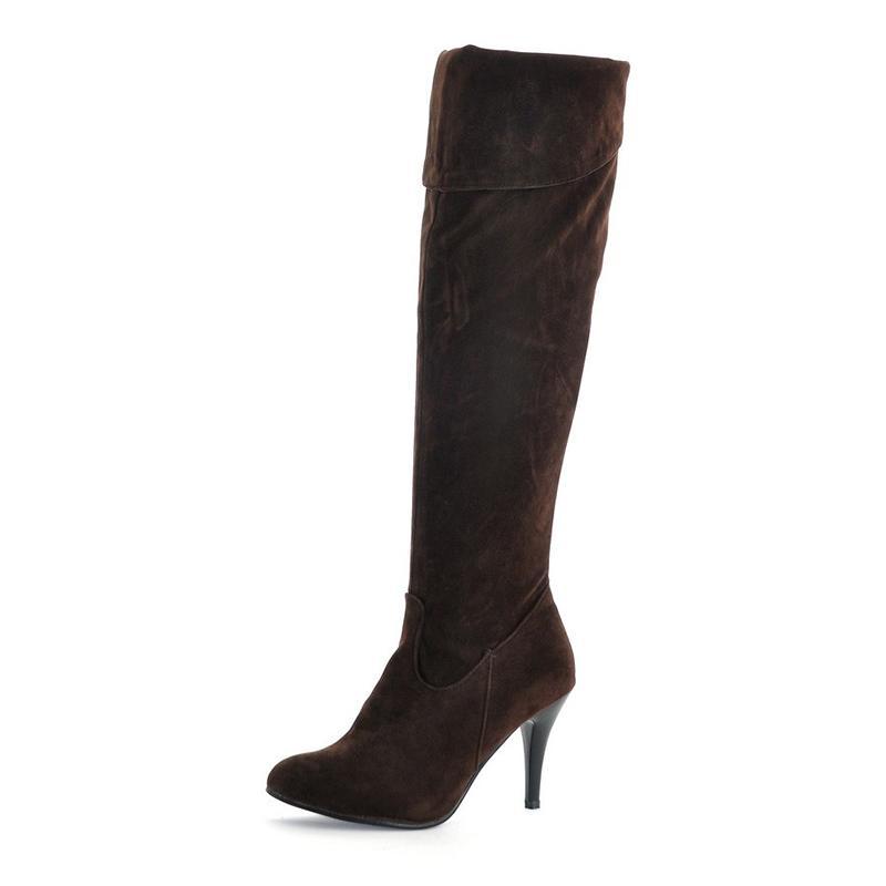 fcee91f59817f6 Großhandel 2018 Neue Frauen Über Das Knie Stiefel Weibliche Pu Leder Flock  Zip Sexy Dünne High Heels Damenmode Plus Größe Dünne Schuhe Von Tinypari