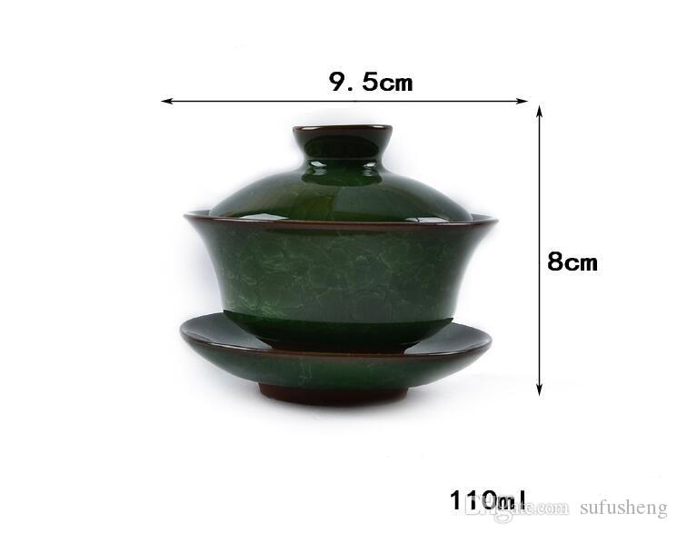 new arrival colorful ice glaze purple clay green tea set three-piece anxi oolong tea gaiwan high quality tea tool