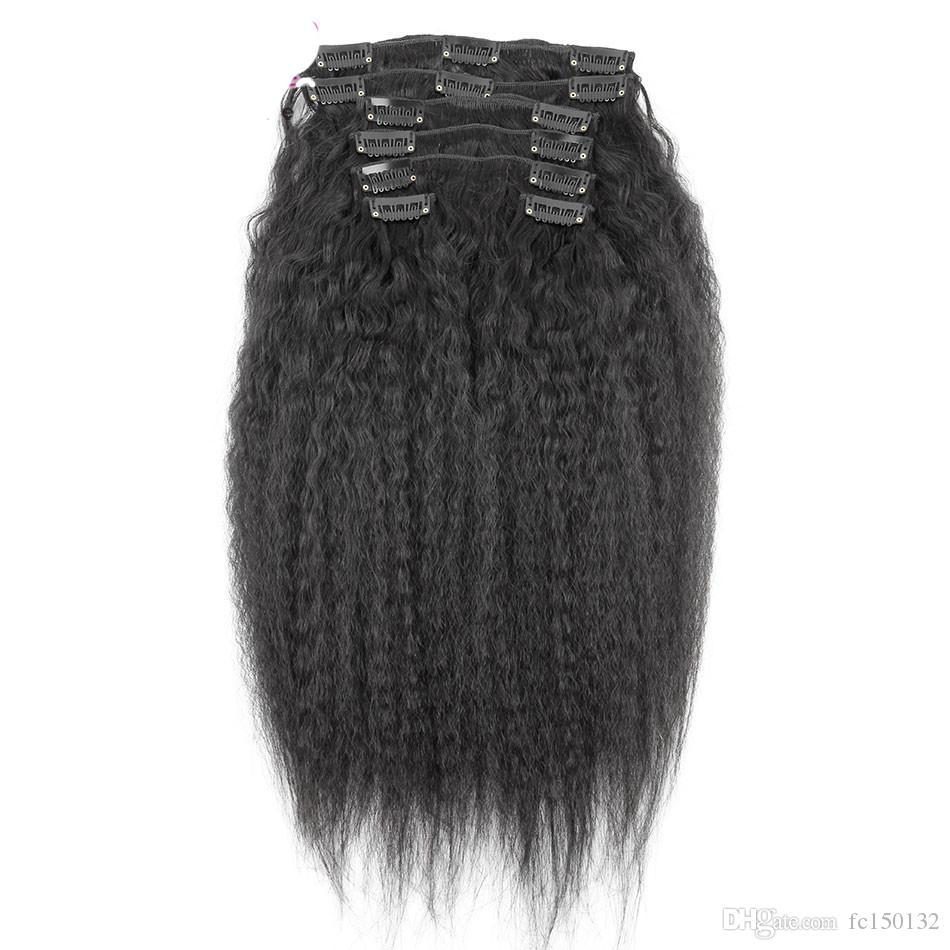 Clipe Barato Em Extensões de Cabelo Humano Natural grampo de cabelo preto yaki em extensões grampo em linha reta kinky em extensões 120g