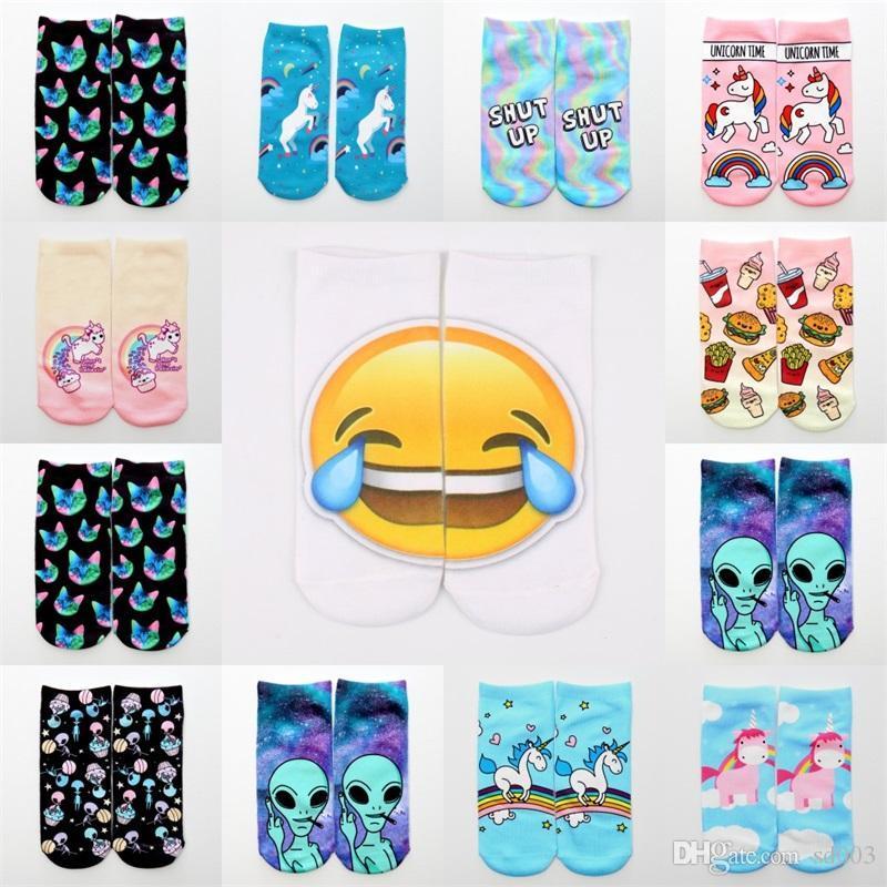 3d Printing Cat Ankle Sock New Unicorn Alien Emoji Cotton Boat Socks