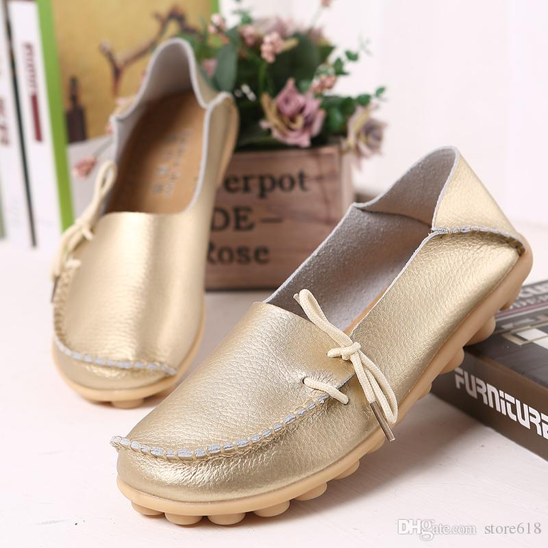 Spring summer comfortable large size women real leather mother shoes lazy nurses wear flat shoes casual women comfortable shoes