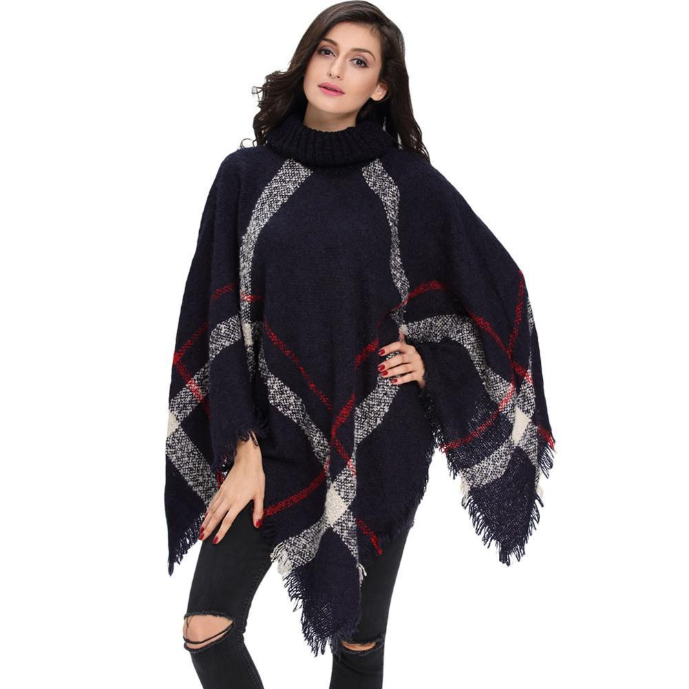 d705e09fcf2 2019 Wholesale 2018 Plus Size Winter Warm Women S Wool Turtleneck  Sleeveless Pullovers Plaid Knit Sweater Poncho From Xlcclothing
