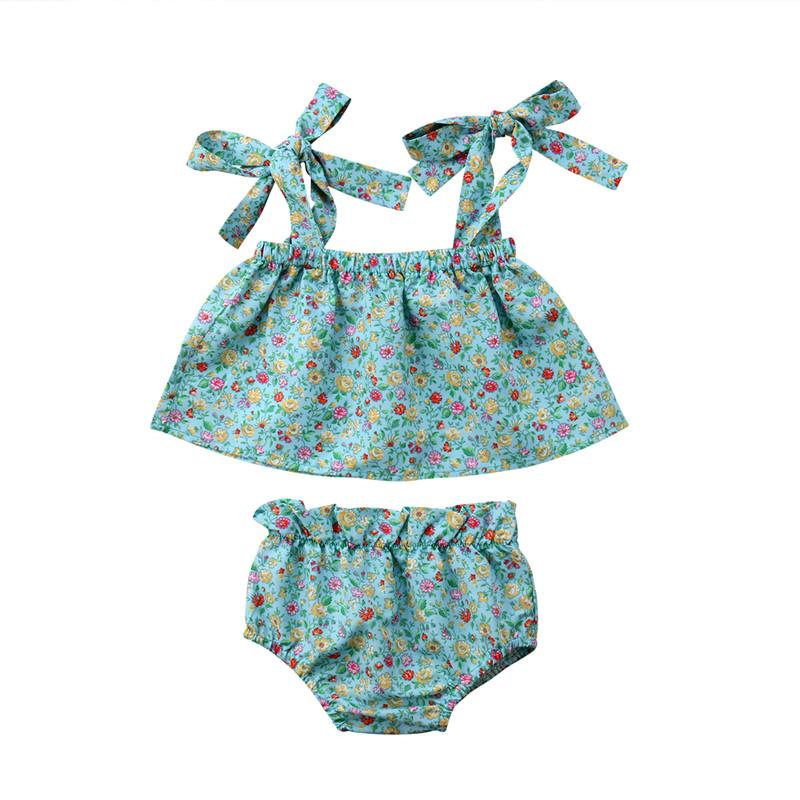 ca7903b2d77 2019 Newborn Infant Kids Baby Girls Clothes Set Strap Sleeveless Shirt  Floral Crop Tops Shorts Summer Outfits Girl Clothing 0 3T From Deve, $41.9  | DHgate.