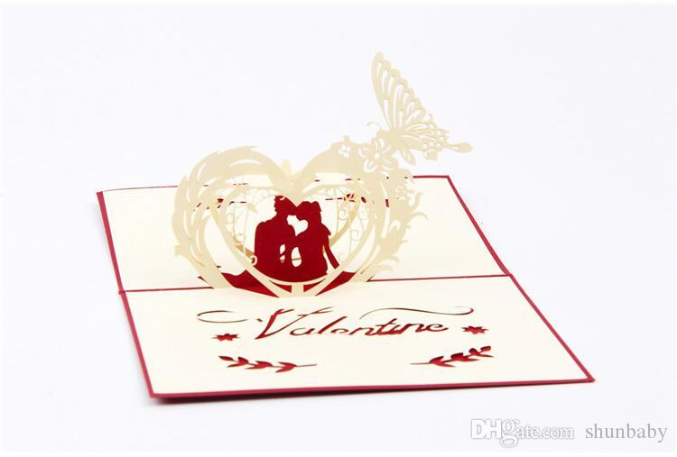 Valentine's Day gift Card 3D Pop Up Happy Couples Greeting Card Anniversary Wedding Valentines Invitation New