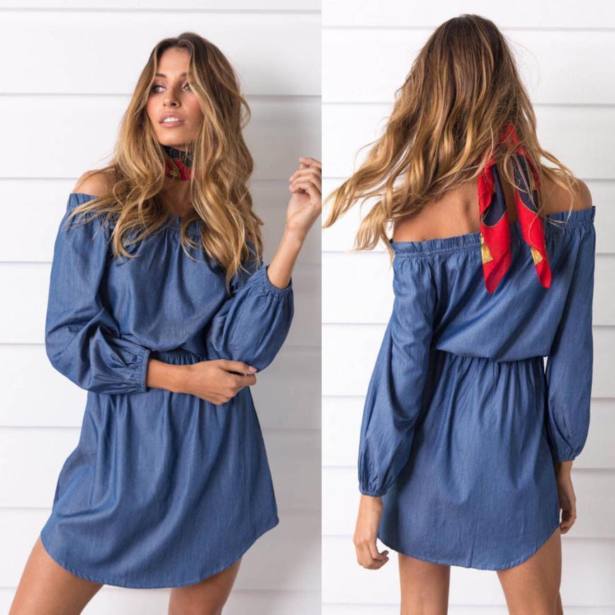 f25d17bfb Compre 2019 Moda Vestido De Jeans Das Mulheres Fora Do Ombro Mini Vestido  De Senhoras Outono Cowboy Vestido De Vestido De Festa Mujer Brasil Vestidos  De ...