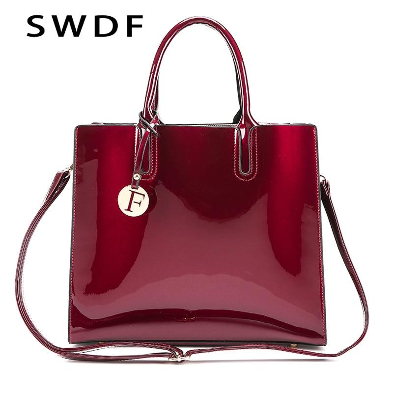 SWDF 2018 Brand Bright Solid Color Patent Leather Ladies Fashion Bag ... 3002809ff3422
