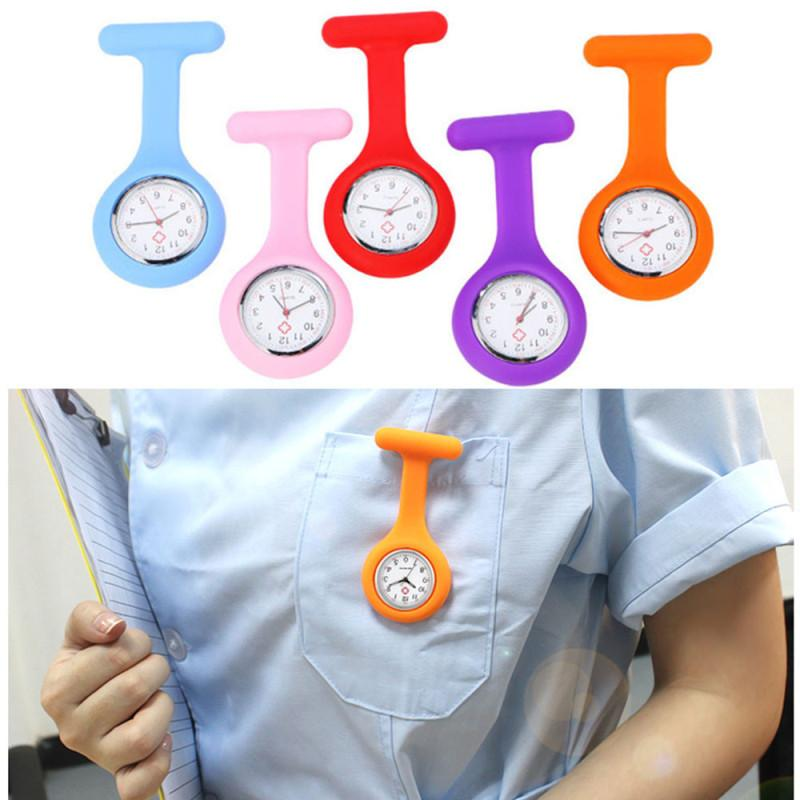 2018 Clocks Women Watch Ladies Silicone Nurse Brooch Tunic Watch ...