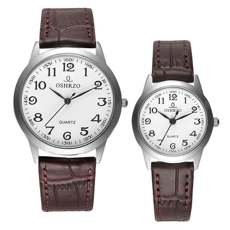 da8e8c10e0a Compre Oshrzo Marca De Luxo Casal Relógios Para Os Amantes Par Ultrafinos  De Quartzo Relógio De Pulso À Prova D  água Dos Homens Das Mulheres Relógios  De ...