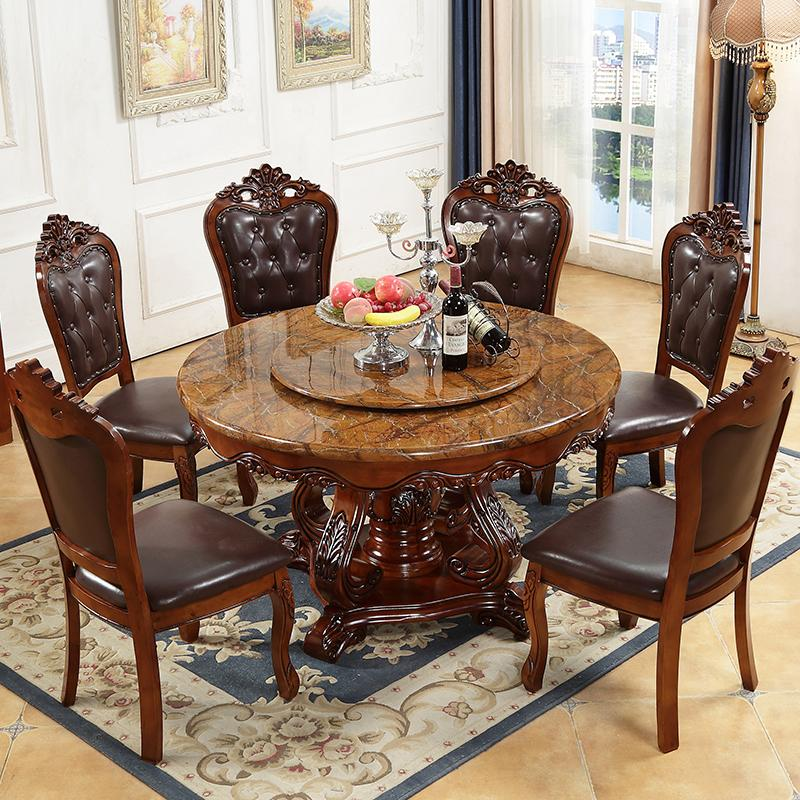 Red Round Dining Table: 2019 Round Natural Marble Rubber Wood Dining Table Round