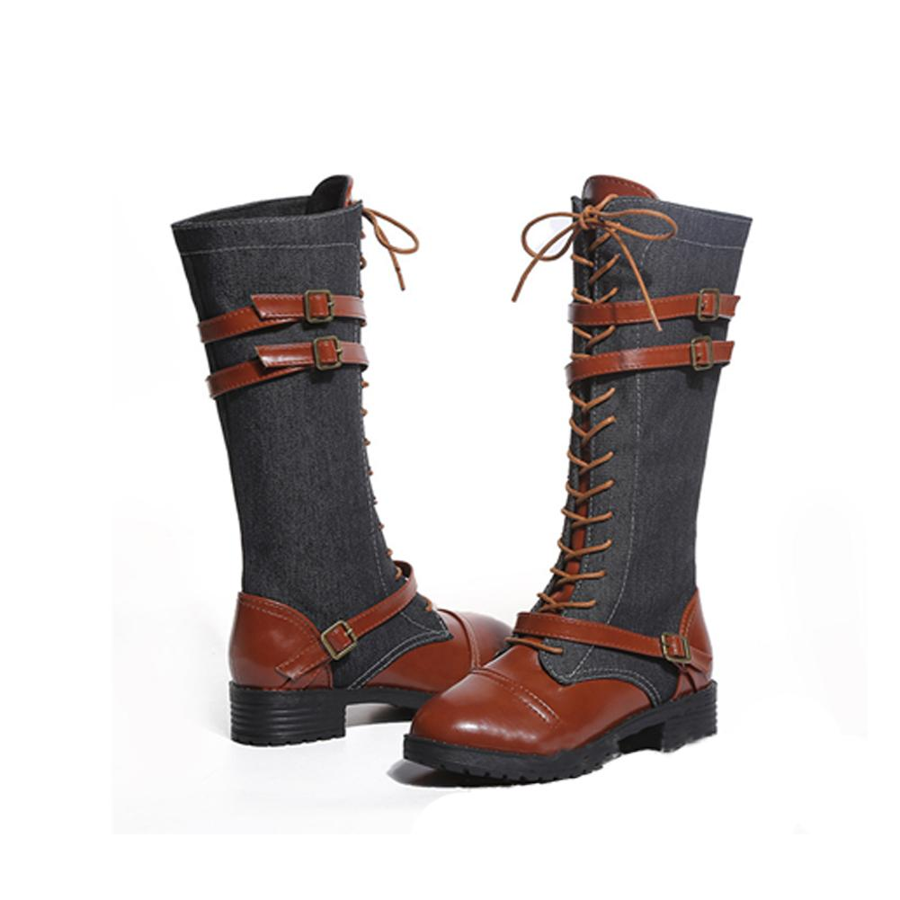 763986390e609 Over The Knee Boots Women Shoes Autumn Winter Lace Up Martin Boots ...