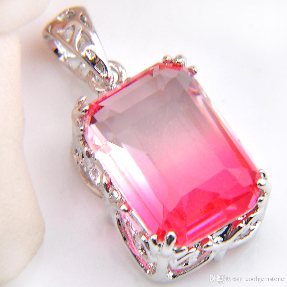 Honey Fashion Rectangle Gradient Bi-Colored Tourmaline Gemstone Silver Necklace Pendants Jewelry Gift New