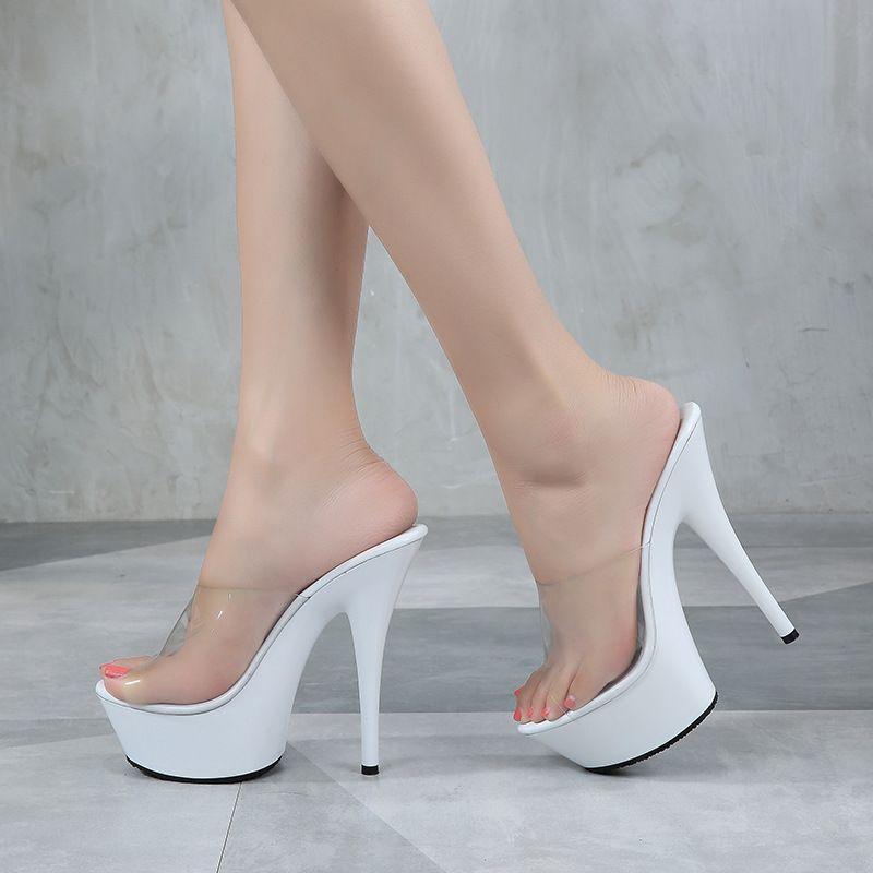 a8dd1f2f8 Compre Chinelos De Verão Mulheres Sapatos De Salto Alto Sandálias De Plataforma  15 CM Moda Transparente Chinelo Feminino Sapatos Cunhas Senhoras Sandálias  ...