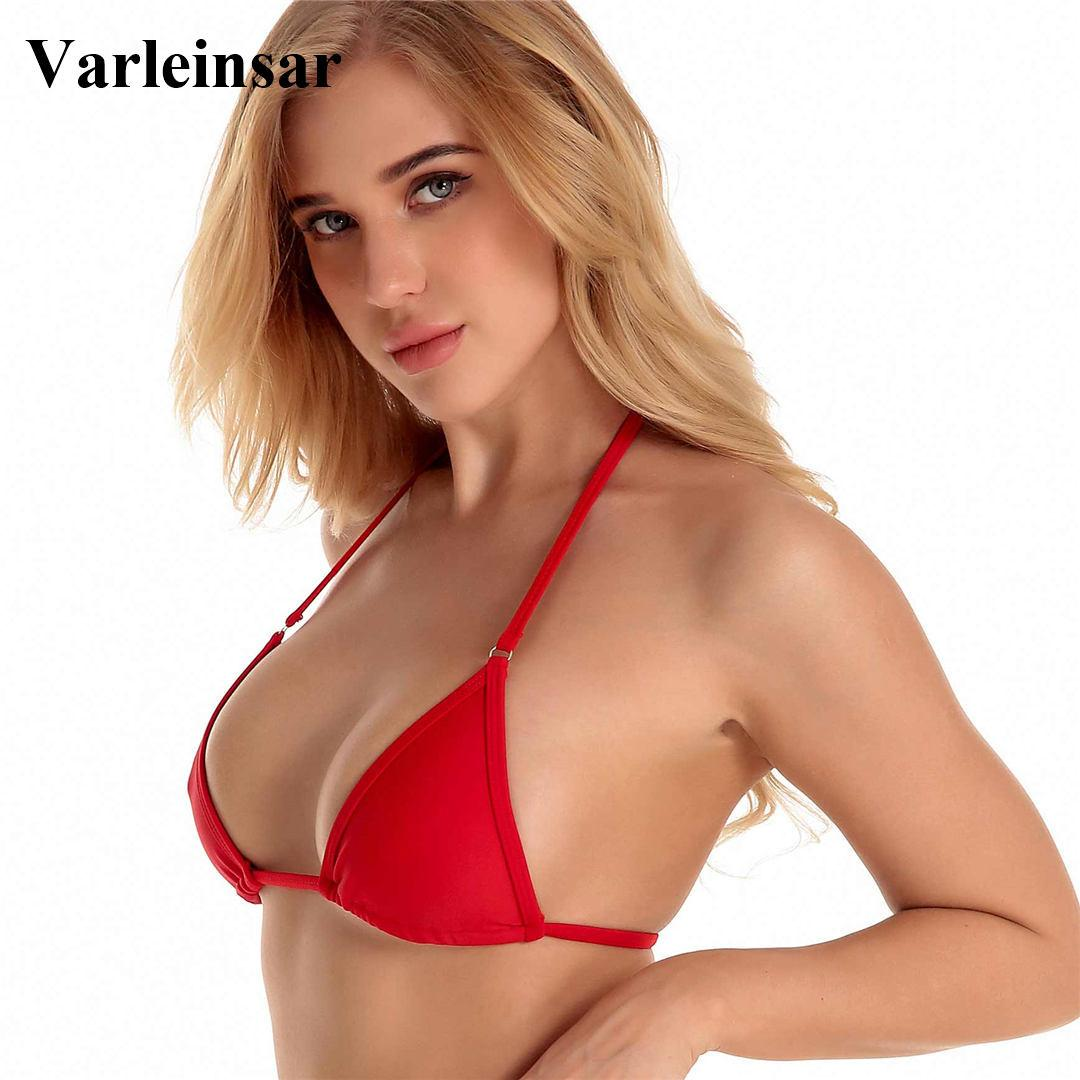 9cf36cae71343 2019 2018 Bather Red Halter String Tie Bikini Top Sexy Two Pieces Swimsuit  Female Swimwear Women Bathing Suit Swim Top V537R From Silan, $37.99 |  DHgate.Com