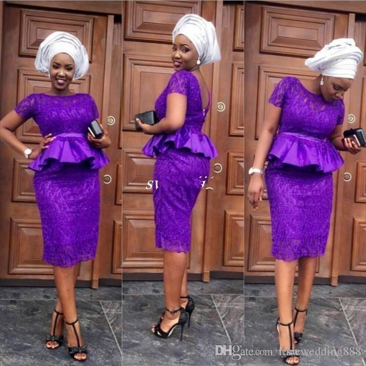 2018 African Plus Size Evening Dresses With Short Sleeves Peplum Purple Lace Cocktail Party Gowns Nigeria