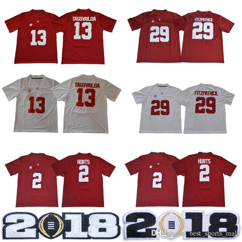2019 NCAA Alabama Crimson Tide 13 Tua Tagovailoa 2 Jalen Hurts  3 Ridley 29  Fitzpatrick 9 Scarbrough Red White 2018 Championship Football Jersey From  ... 363e68852