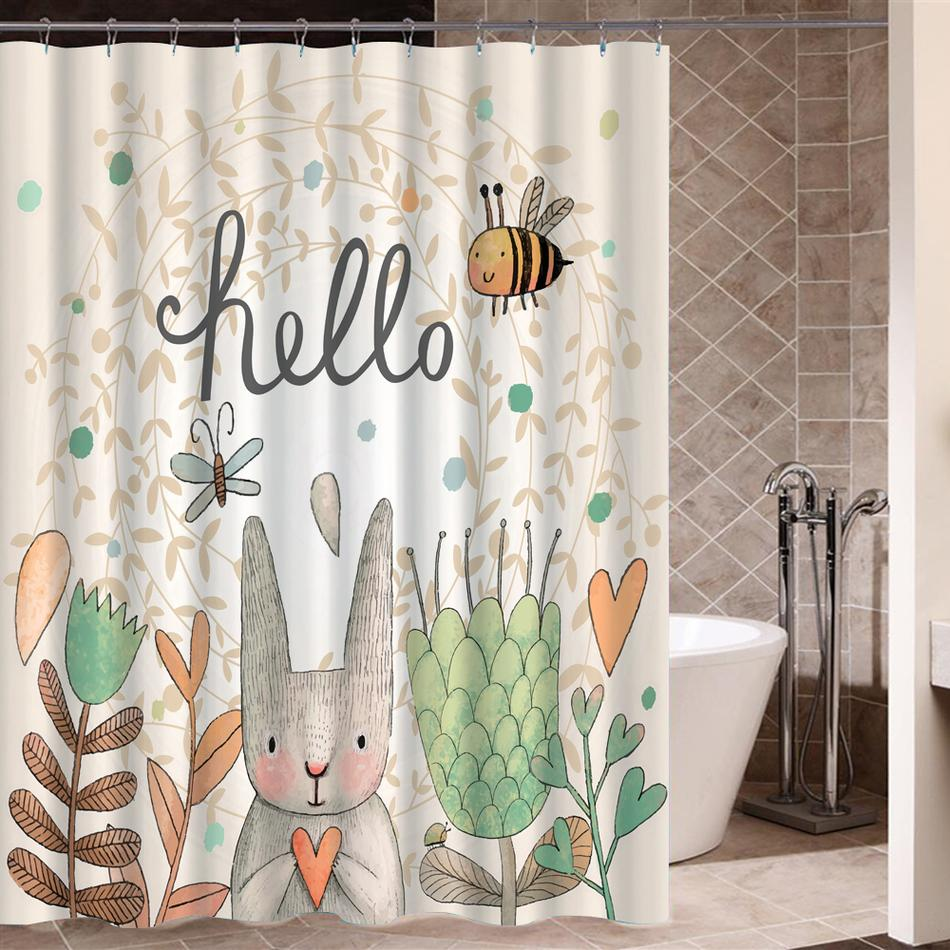 Flower Rabbit Shower Curtain High Quality Polyester Fabric Waterproof Mildewproof For Bathing UK 2019 From Crape 3325