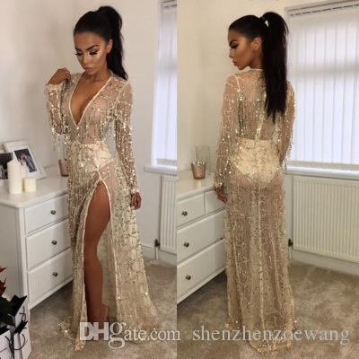 a9e04c61c8 2019 Hot Sale Long Style Beige Color Evening Sexy Dress Dinner Party  Clothes Sequins And Tassels Design Deep V Neck Split Fitness Maxi Dress  From ...