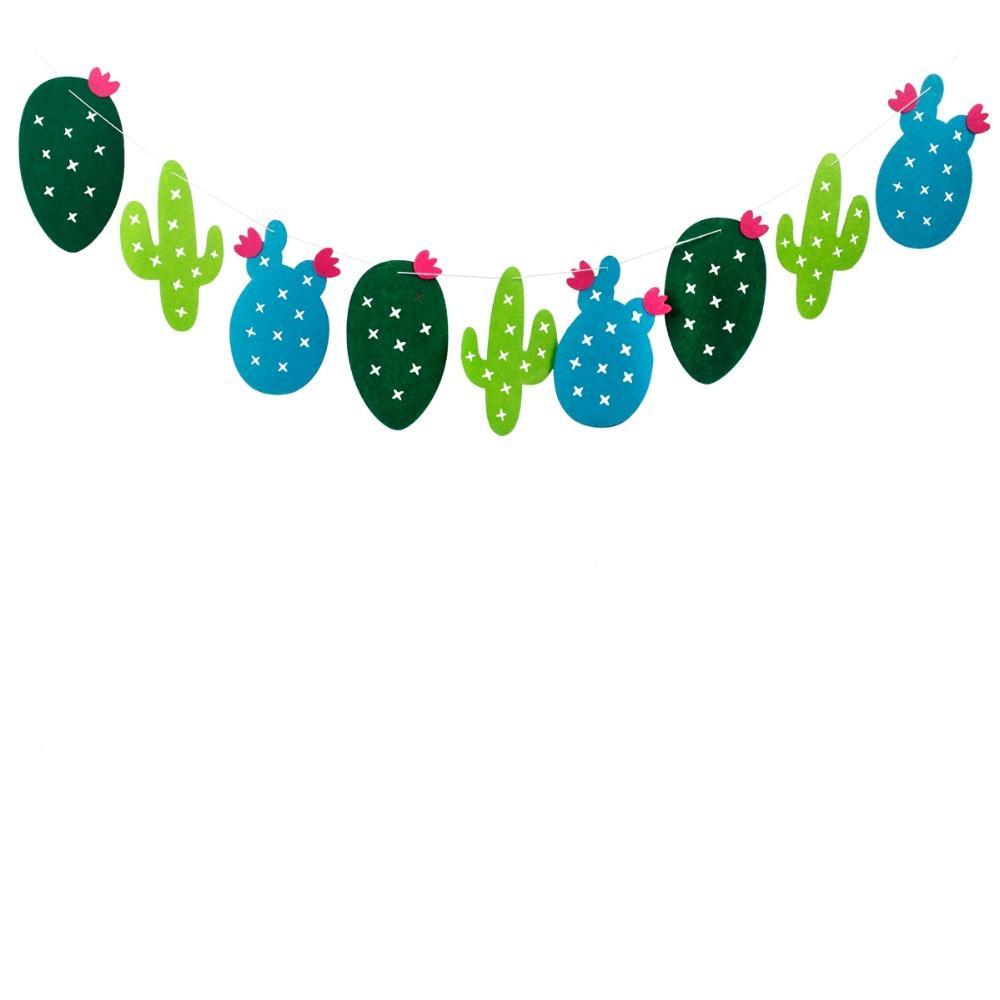 FENGRISE Não Tecidos Tecidos Cactus Banner Partido Hawaiian Bunting Garland Favores de Festa de Aniversário Pendurado Decoração Fontes Do Evento