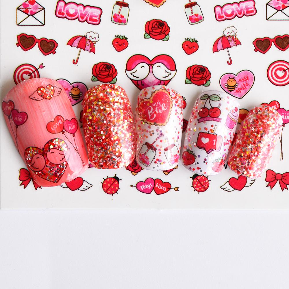 Nail Art Stickers Decals Full Beauty Sweet Love Heart Rose Pattern ...
