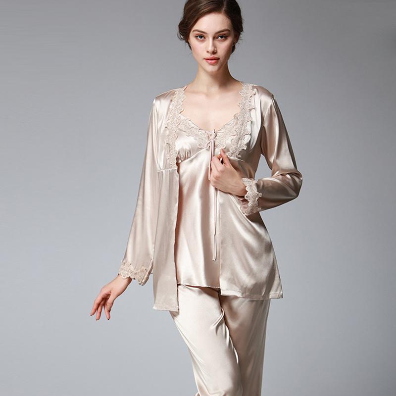 Women Autumn New High Imitation Silk Pajamas Luxury Light Long-Sleeved  Pants Three-Piece Sets Leisure Home Wear Sets Autumn New Pajama Sets Cheap  Pajama ... 78f1f4733