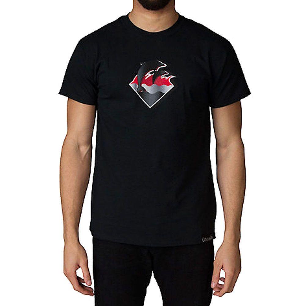 online store 6699a 130f1 Pink Dolphin Uomo Chrome Waves T Shirt T-Shirt Nera Vestiti Abbigliamento