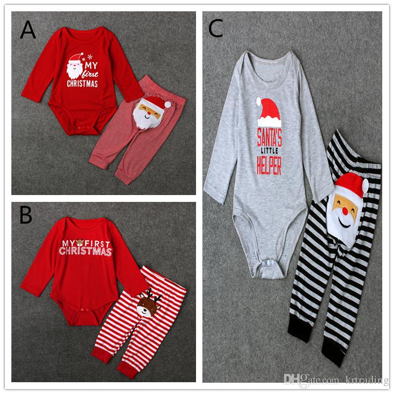 a4aae633af0 Baby Christmas Romper Suit Santa Elk Sets Long Sleeve Romper+striped ...