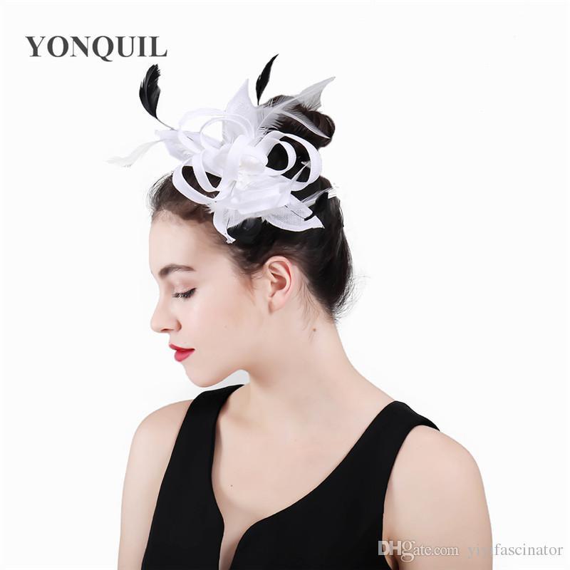 974d3fd63 2018 Vintage Women Fascinator Feather Cocktail Hat Hairband Ladies Headband  Wedding Party Headdress Royal Hair Accessoies SYF431