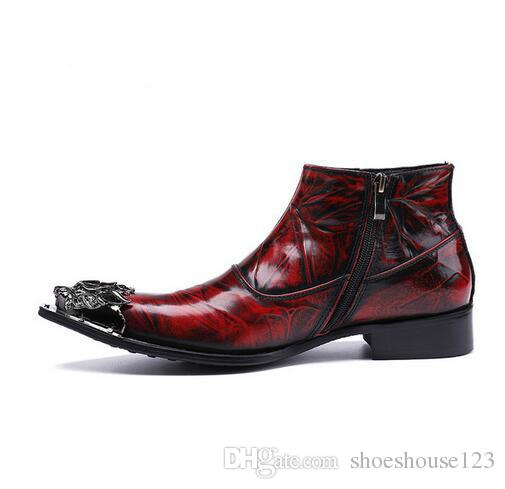 0df86ae7810 Vintage Style Men'S Ankle Boots Chaussure Homme Cow Leather Shoes Wine Red  Metal Toe Men Short Boots Hiking Boots Shoes For Women From Shoeshouse123,  ...