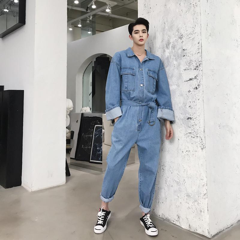 50659952892 2019 Male Jumpsuit Jeans Trousers Men Retro Fashion Casual Loose Denim  Overalls Streetwear Hip Hop Long Sleeve Jeans Harem Pant From Yigu003