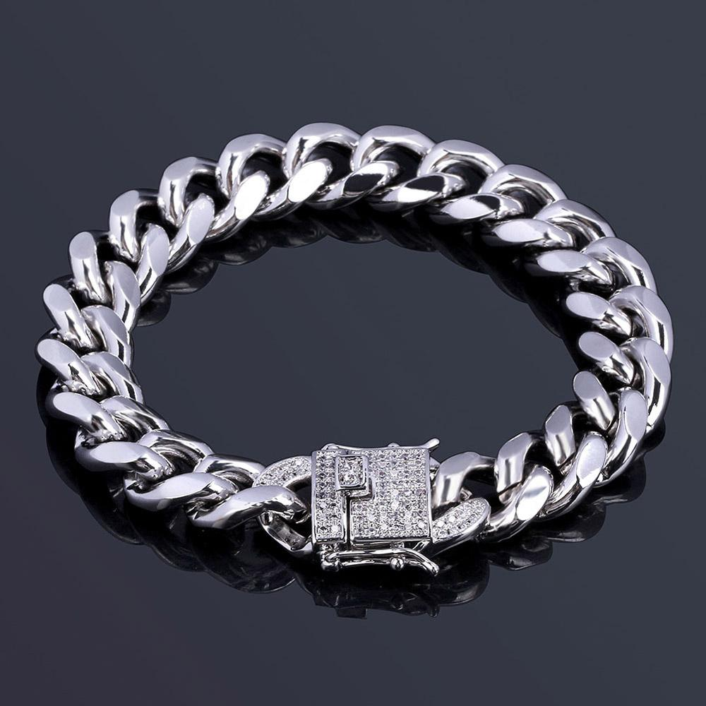 316L Stainless Steel 18K Real Gold Electroplated Micro-Studded Diamond Clasp Miami Cuba Link Bracelet For Men High Polished Iced Out Chains