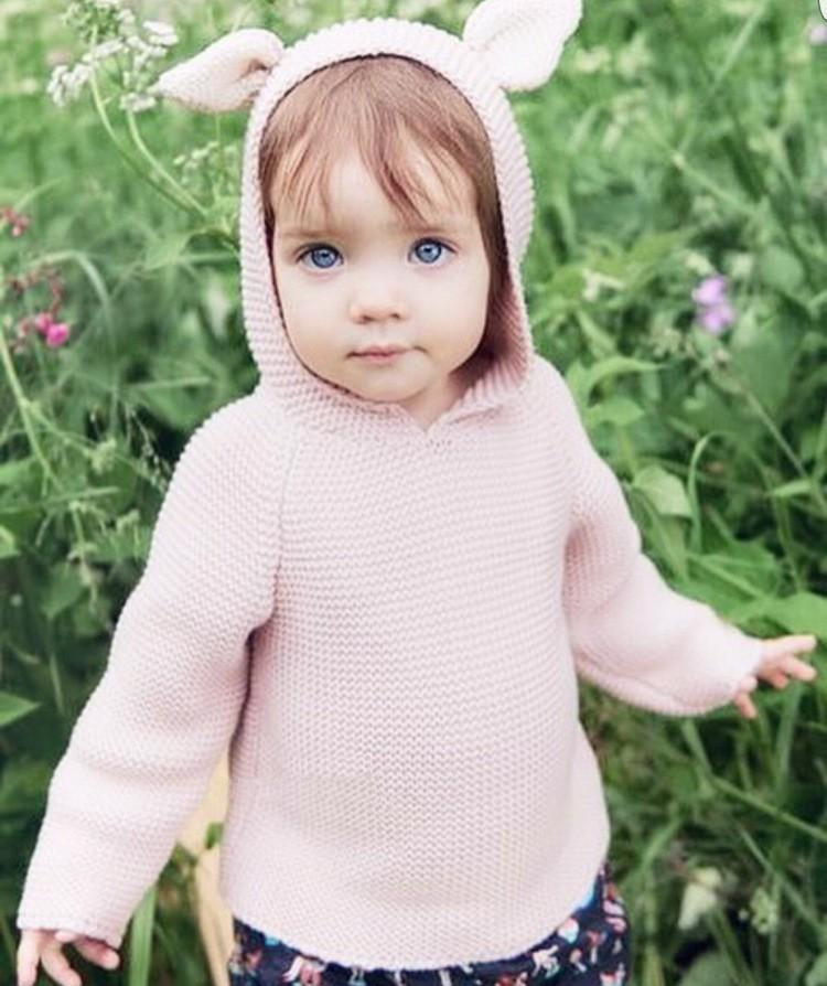 Lovely Baby Pink Rabbit Ears Sweaters Kids Animal Style Long Sleeved ...