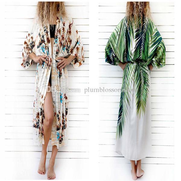 c7e7c376a9 2019 Elegant Floral Printed Kimono Blouses Shirt Women Fashion Long  Cardigan Tops Summer Casual Beach Bohemian Holiday Bikini Swimwear Cover  Ups From ...