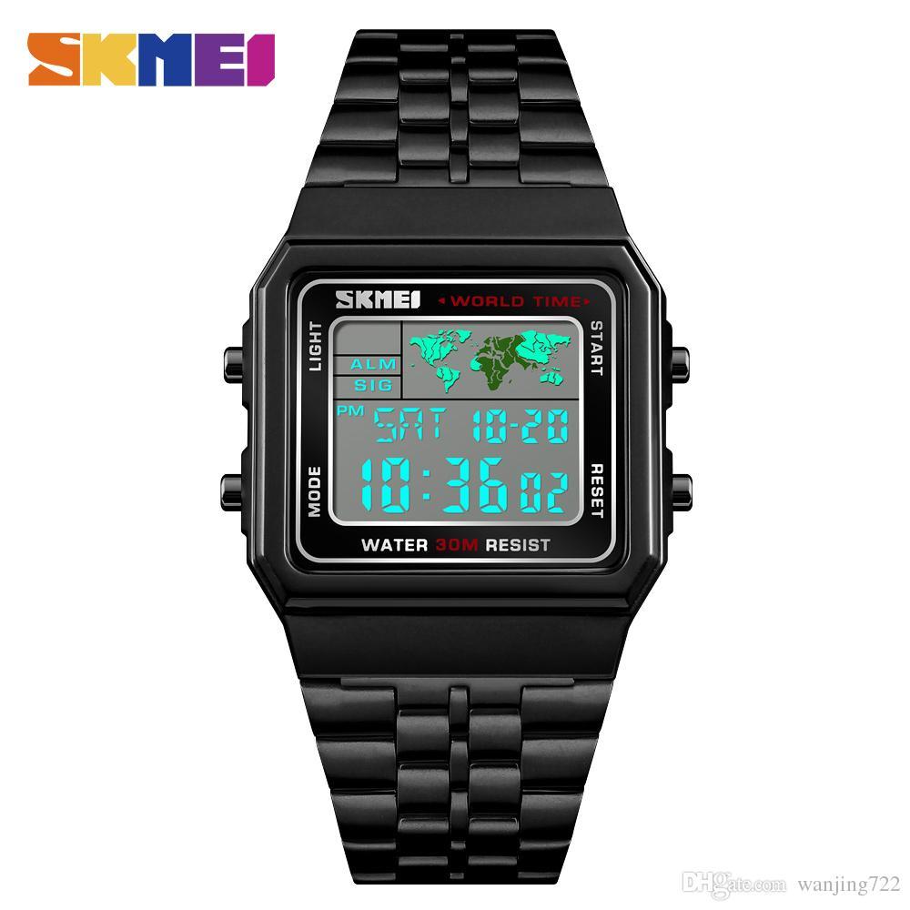 1f8a3ae07406 Compre SKMEI World Time Reloj Multifuncional Rectángulo De Moda Banda De  Acero Inoxidable Relojes Digitales Impermeable 12 24 Horas Calendario  Alarma Reloj ...