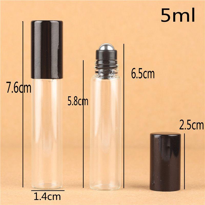 / 5ML 10ML 투명 유리 에센셜 오일 롤러 병 유리 롤러 공 아로마 테라피 향수 립 Balms 유리 병에 롤
