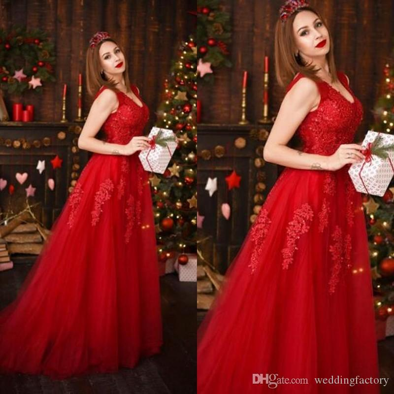 Christmas Red A-Line Wedding Dresses V Neck Sleeveless Beaded Sequins Lace Appliques Tulle Bridal Gowns with Sweep Train Cheap High Quality