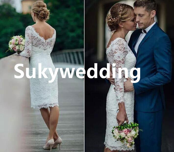 Elegante corto de encaje de verano vestidos de novia hasta la rodilla simple blanco marfil corto vaina vestidos de novia vestidos de novia con mangas largas
