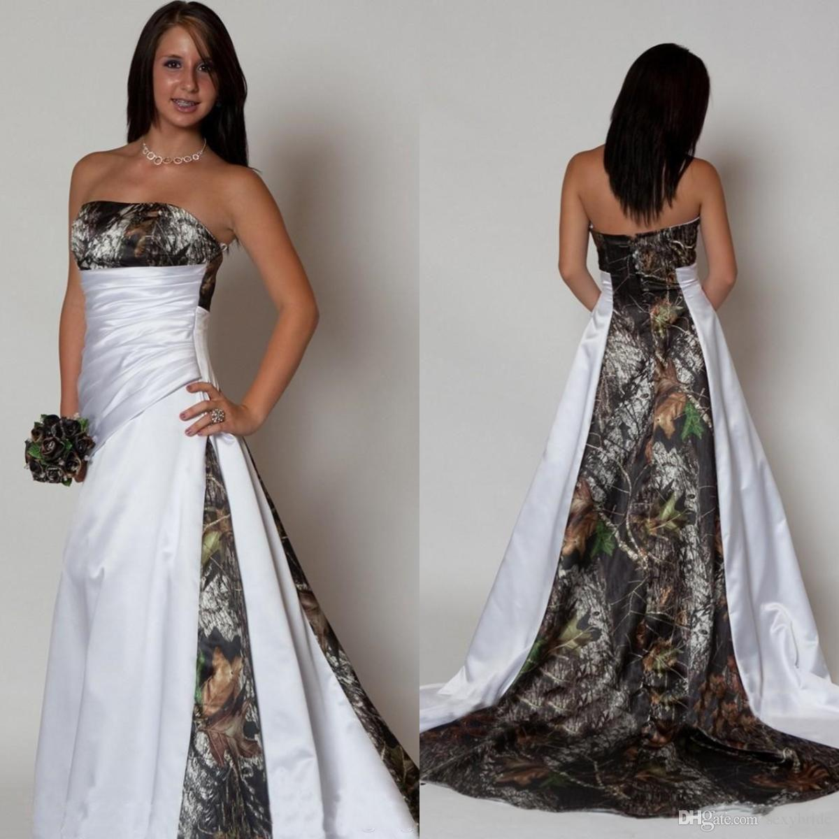 Discount New Arrival Cheap Strapless Camo Wedding Dresses With Pleats  Empire Waist A Line Sweep Train Realtree Camouflage Betra Bridal Gowns  Wedding Dresses ... 6f3d06699896