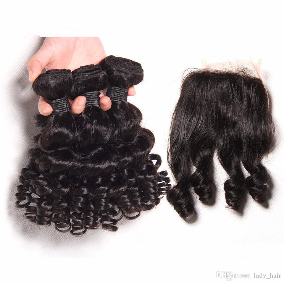 버진 페루 Aunty Funmi 인간의 머리는 클로져 로맨스 컬과 자연 블랙 4x4 레이스 전면 클로저 3 번들 거래와 함께