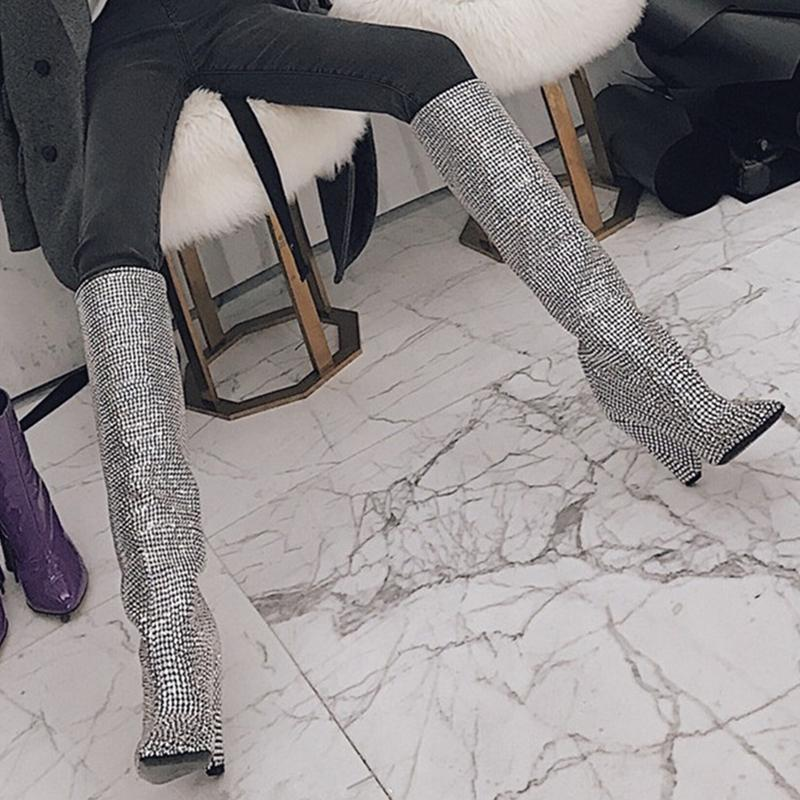 a2f27d3e16e014 Newest Luxury Crystal Pointy Toe Knee High Boots Sexy Strange Heel Boots  Bling Ladies Rhinestone Long Women Tenis Feminino White Boots Black Boots  For Women ...