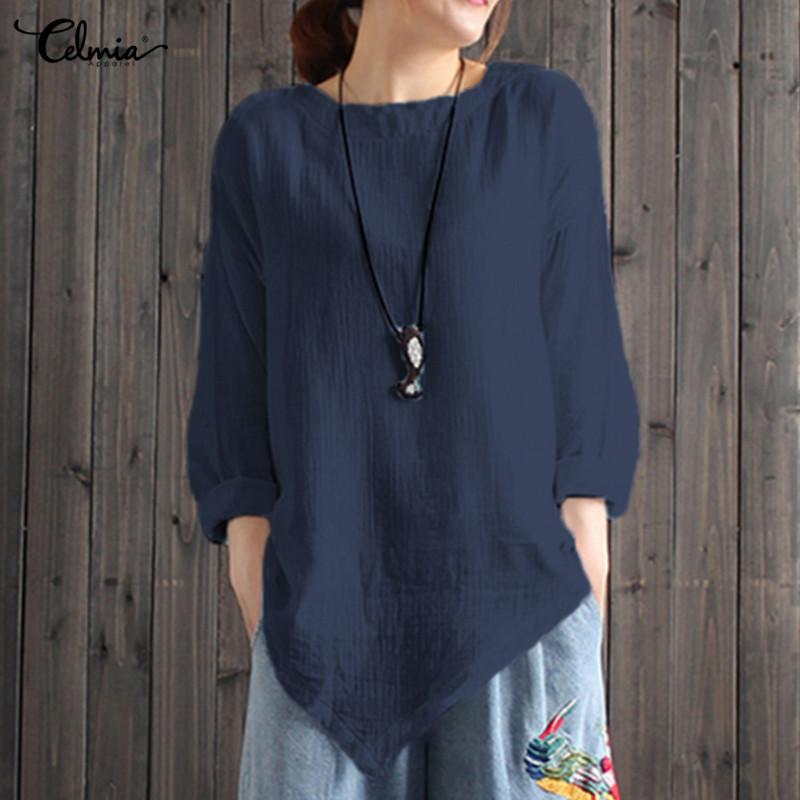 b24191151ec 2019 Women Linen Blouses Tops Plus Size Celmia Summer Vintage Top Casual  Long Sleeve Asymmetric Shirt Female Clothes Blusa Vestido From Michalle