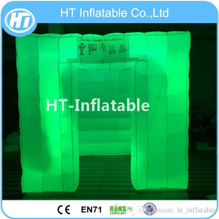 Tenda gonfiabile dell'aria di illuminazione libera di trasporto 2.4x2.4x2.4m LED, tenda cubica gonfiabile l'evento